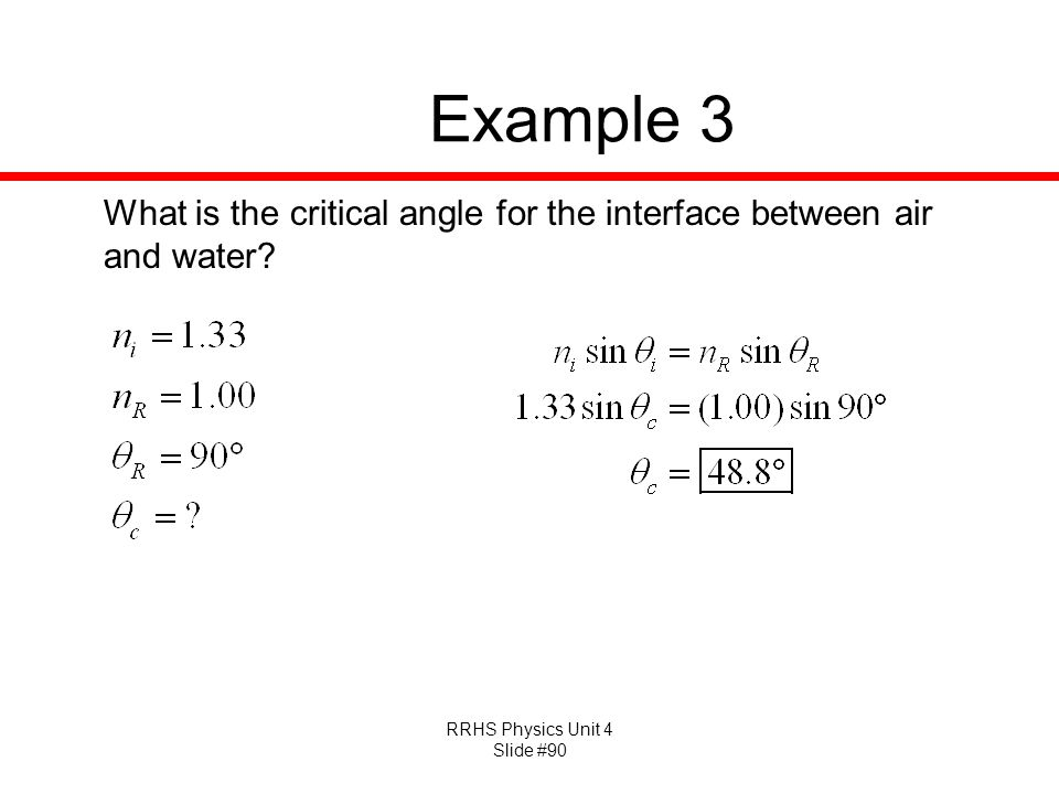 Example 3 What is the critical angle for the interface between air and water