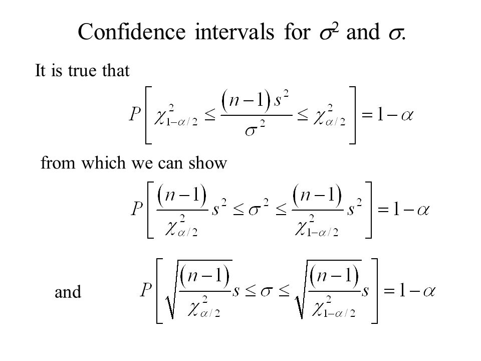 Confidence intervals for s2 and s.