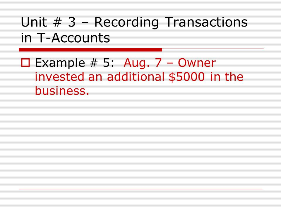 Unit # 3 – Recording Transactions in T-Accounts