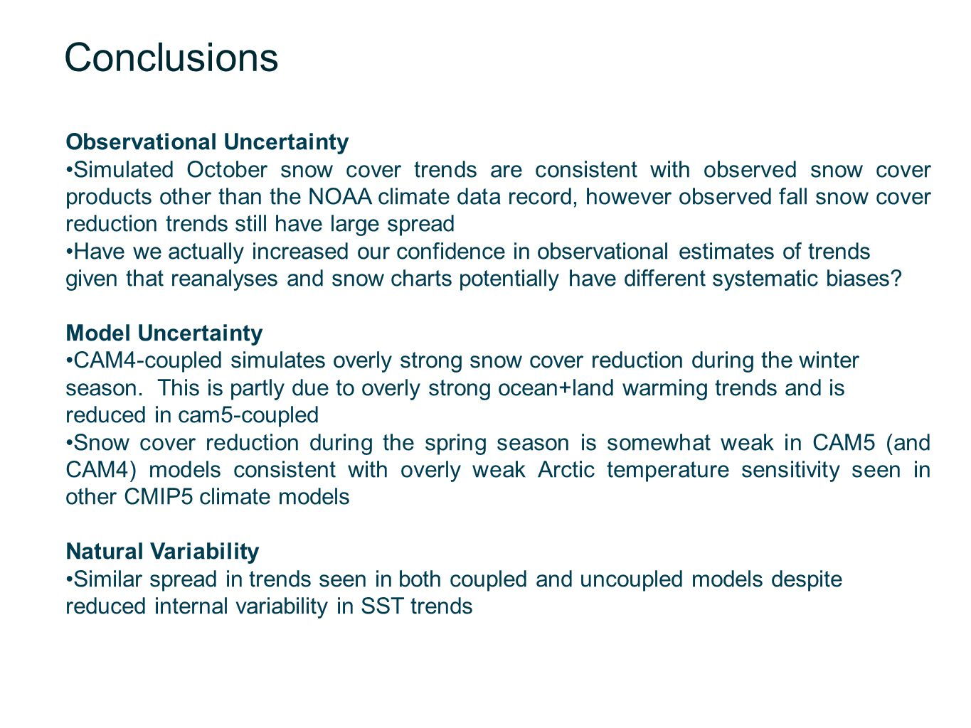 Conclusions Observational Uncertainty