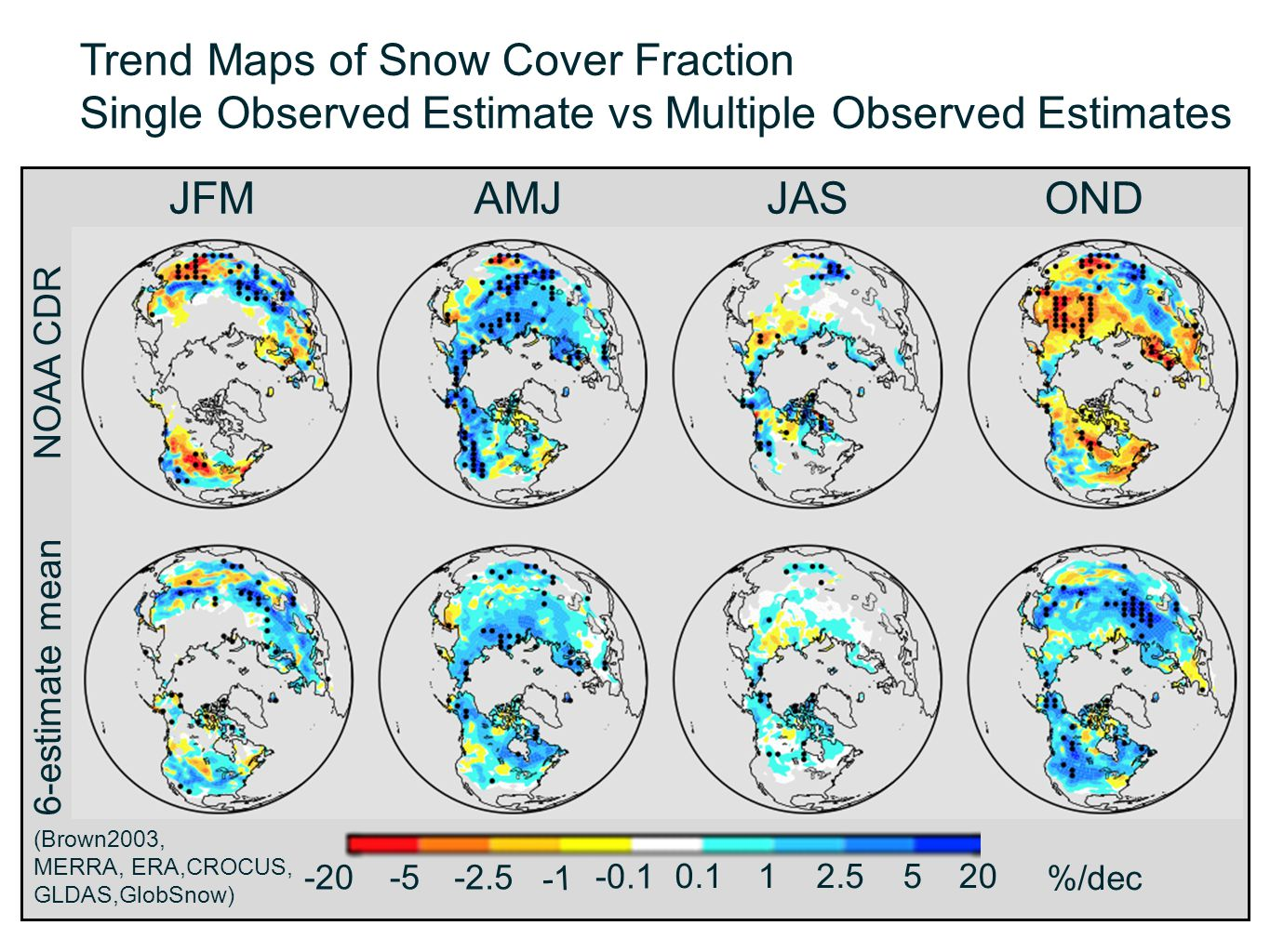 Trend Maps of Snow Cover Fraction