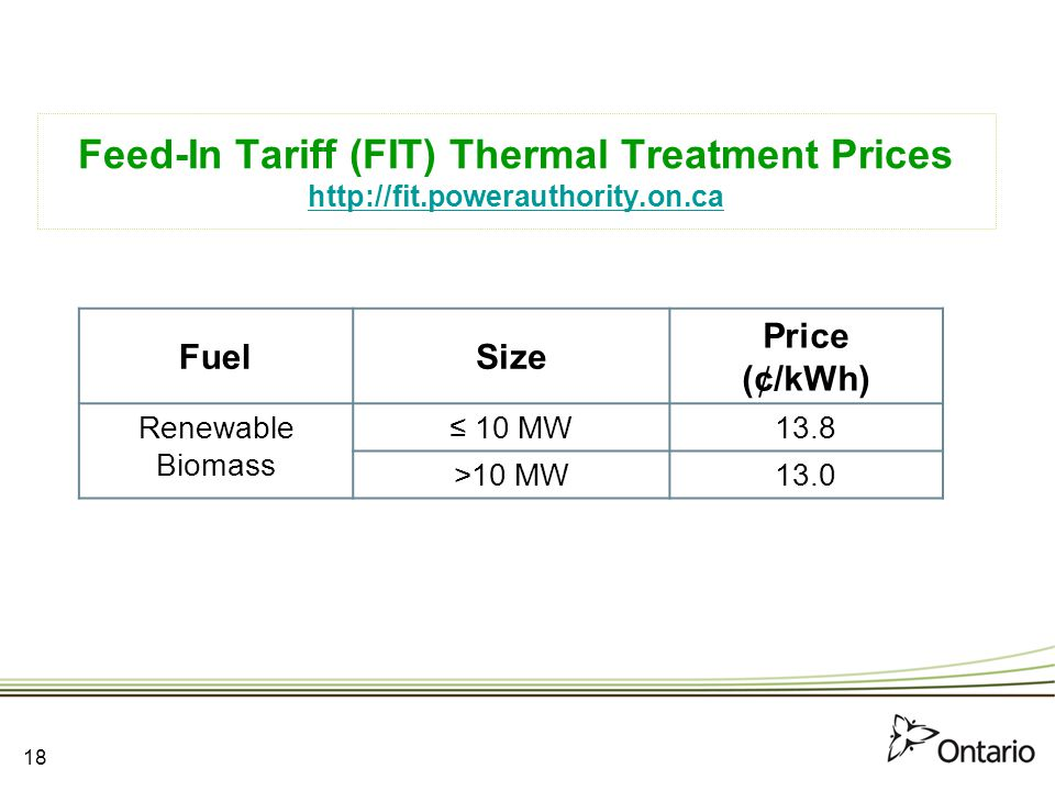 Feed-In Tariff (FIT) Thermal Treatment Prices http://fit