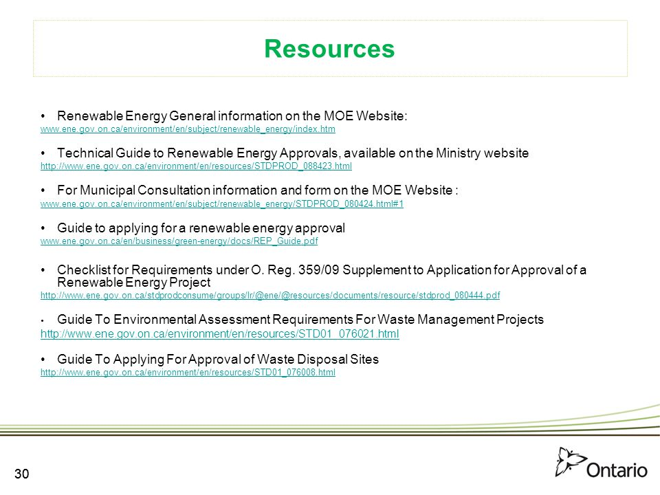 Resources Renewable Energy General information on the MOE Website:
