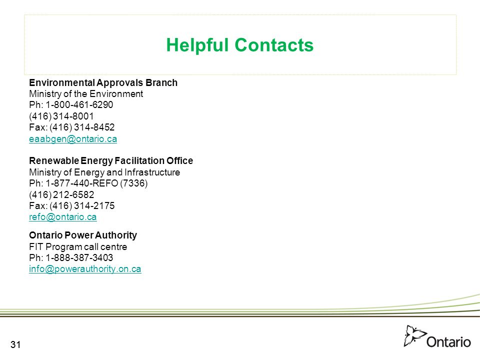 Helpful Contacts Environmental Approvals Branch