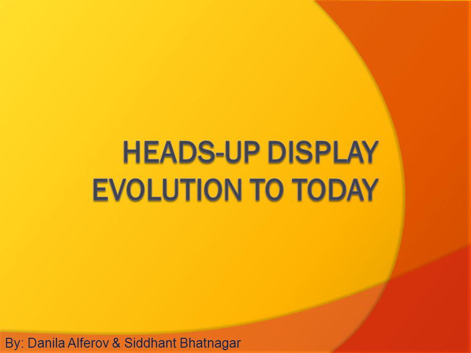 Heads-up Display Evolution to Today