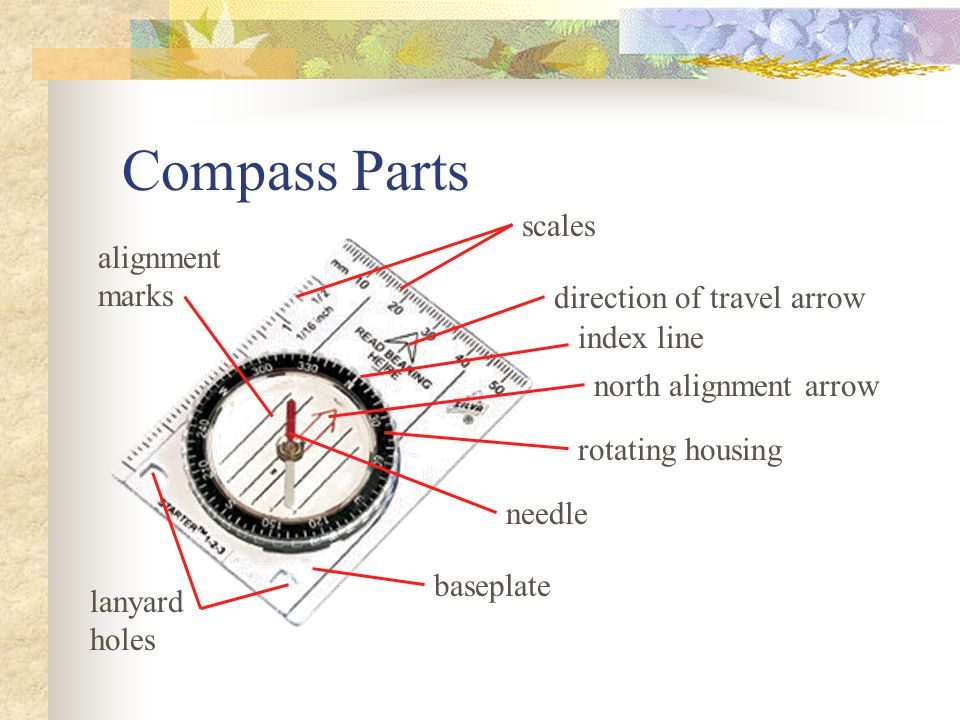 Compass Parts scales alignment marks direction of travel arrow