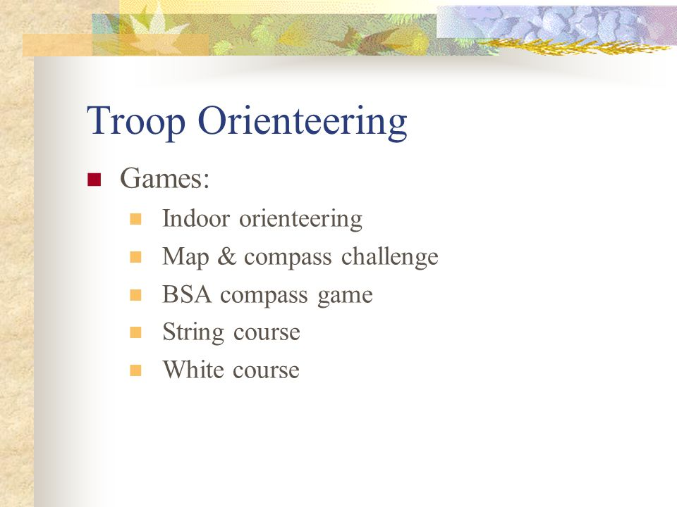 Troop Orienteering Games: Indoor orienteering Map & compass challenge