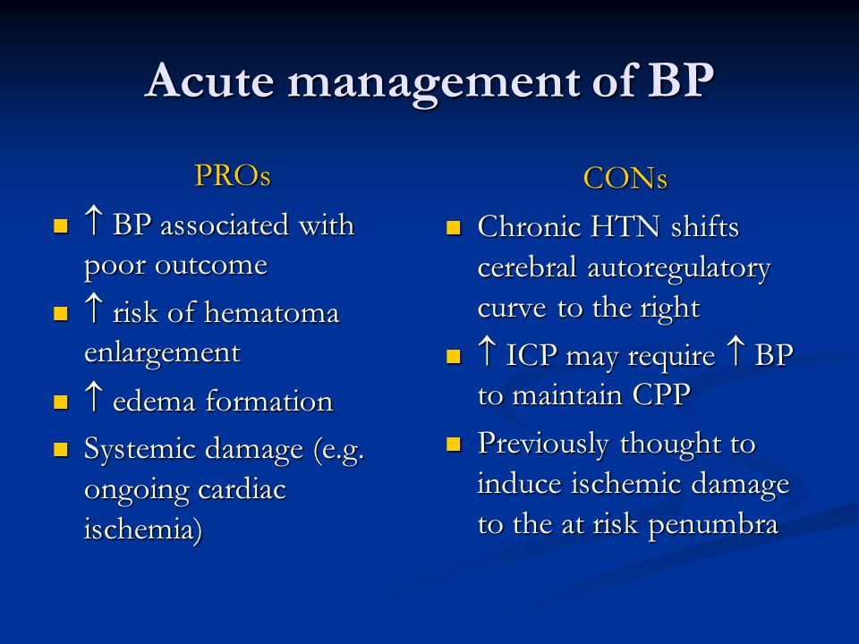 Acute management of BP PROs CONs  BP associated with poor outcome