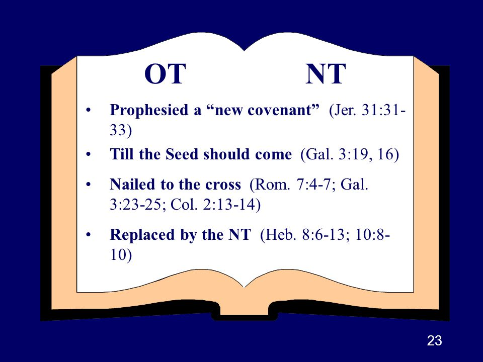 OT NT Prophesied a new covenant (Jer. 31:31-33)