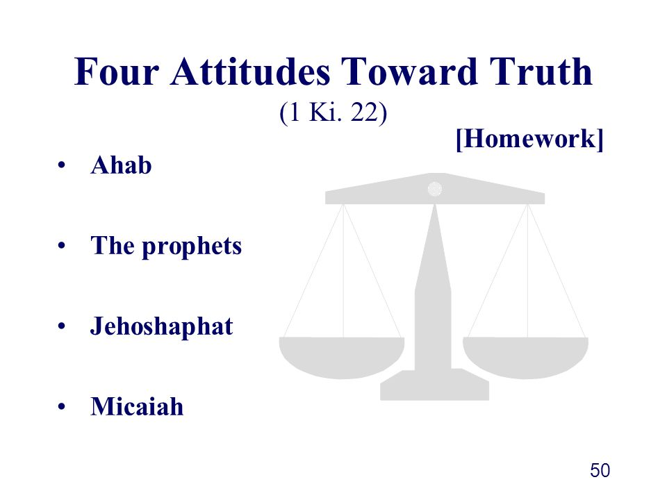 Four Attitudes Toward Truth (1 Ki. 22)