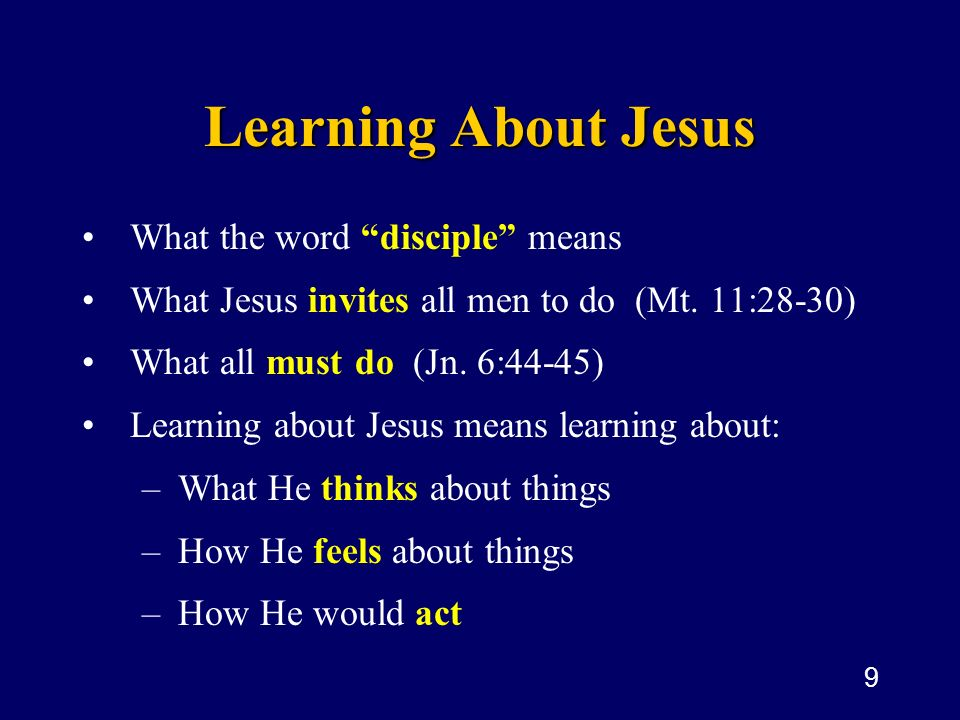 Learning About Jesus What the word disciple means