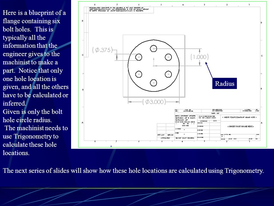 Here is a blueprint of a flange containing six bolt holes