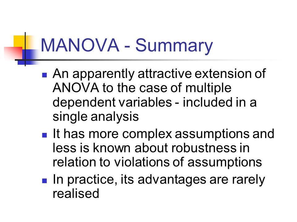MANOVA - Summary An apparently attractive extension of ANOVA to the case of multiple dependent variables - included in a single analysis.