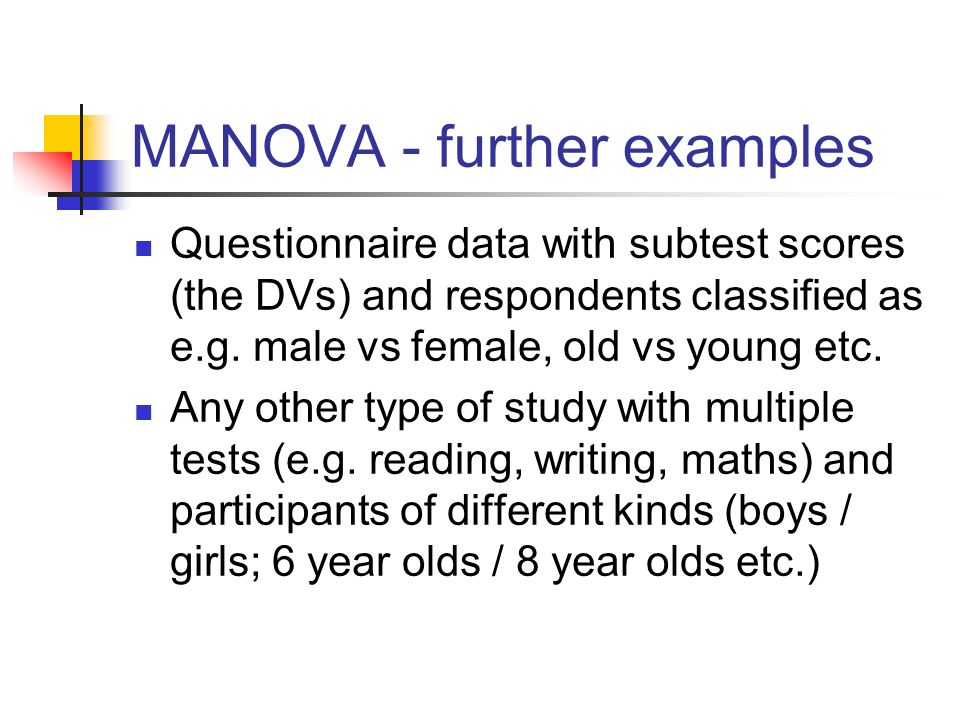 MANOVA - further examples