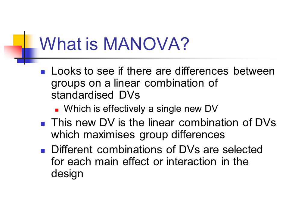 What is MANOVA Looks to see if there are differences between groups on a linear combination of standardised DVs.