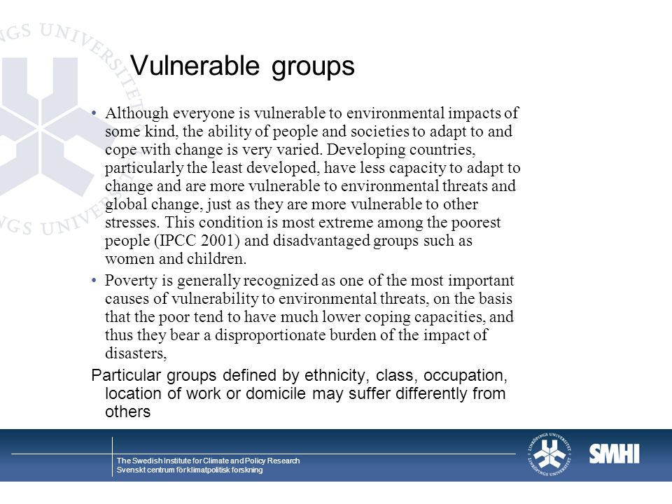 Vulnerable groups