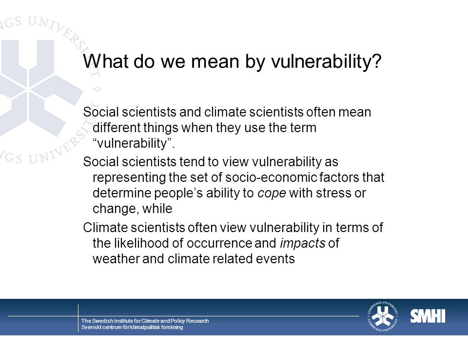 What do we mean by vulnerability