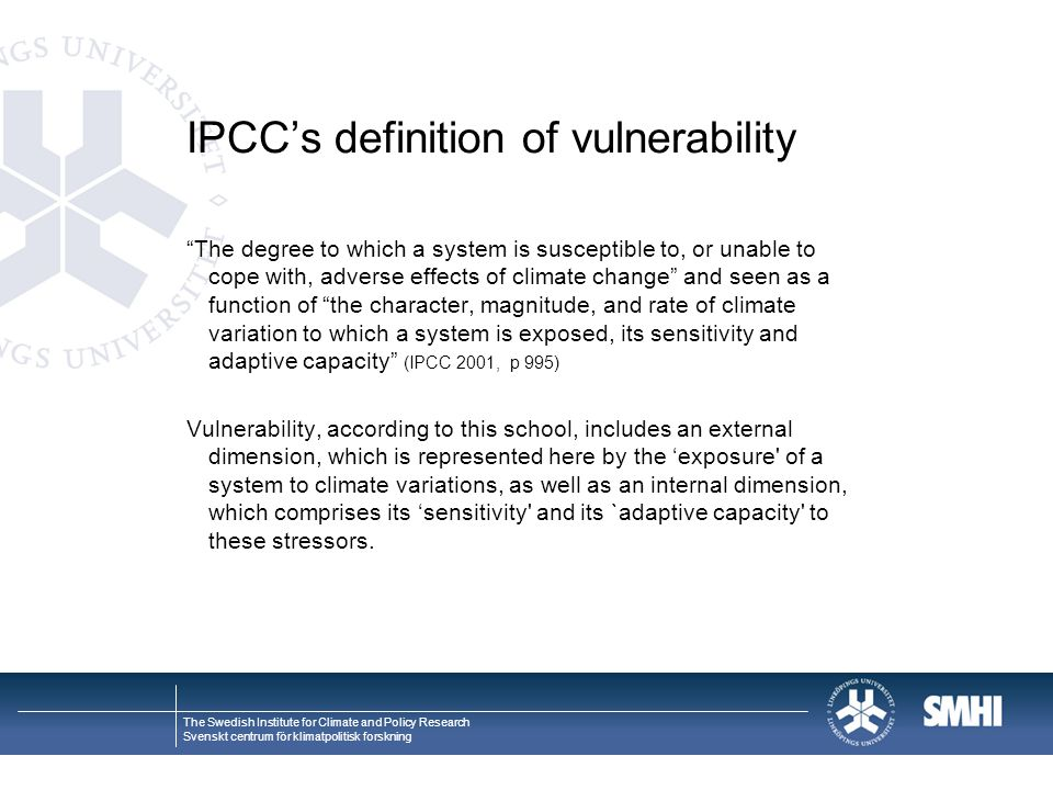 IPCC's definition of vulnerability