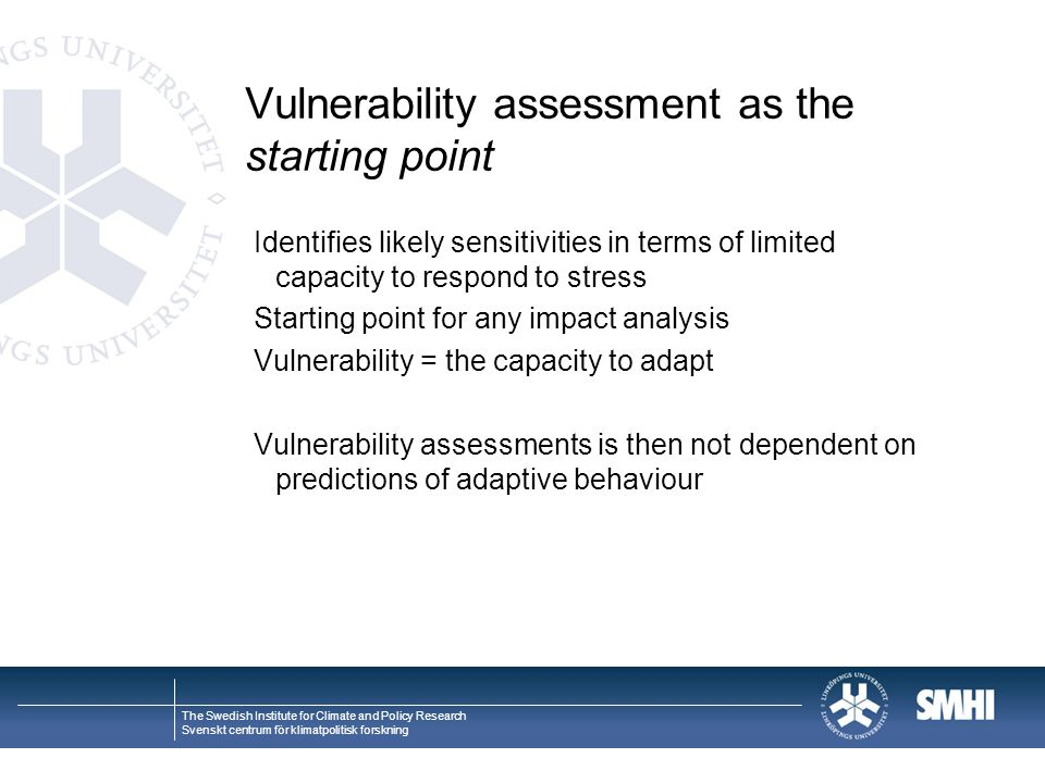 Vulnerability assessment as the starting point