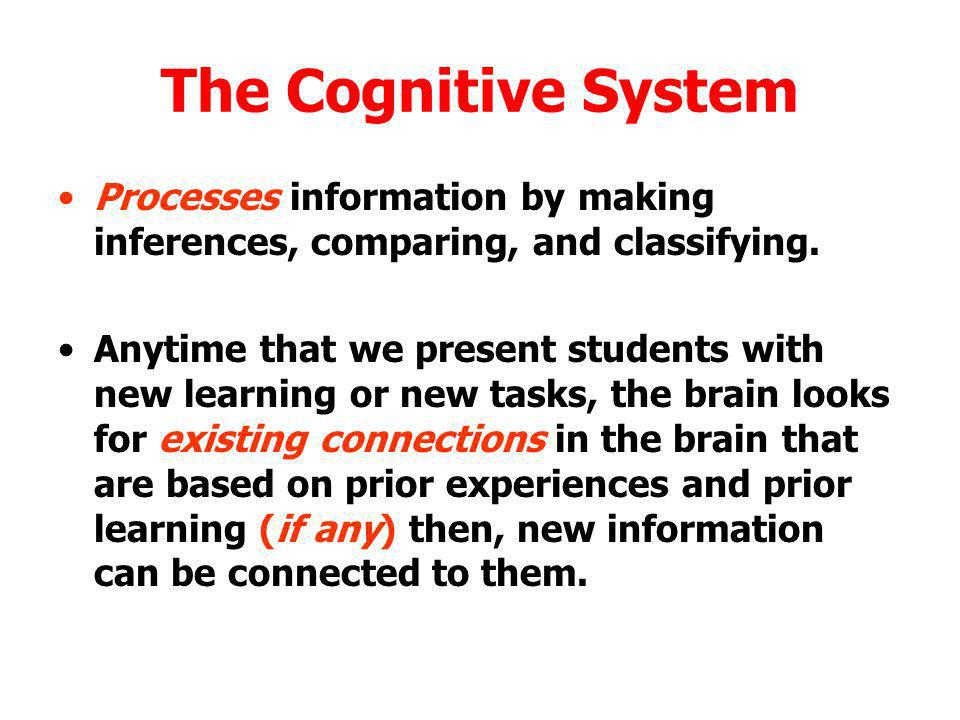 The Cognitive System Processes information by making inferences, comparing, and classifying.