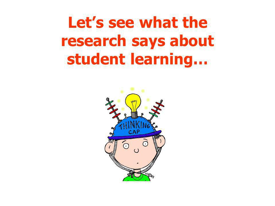 Let's see what the research says about student learning…