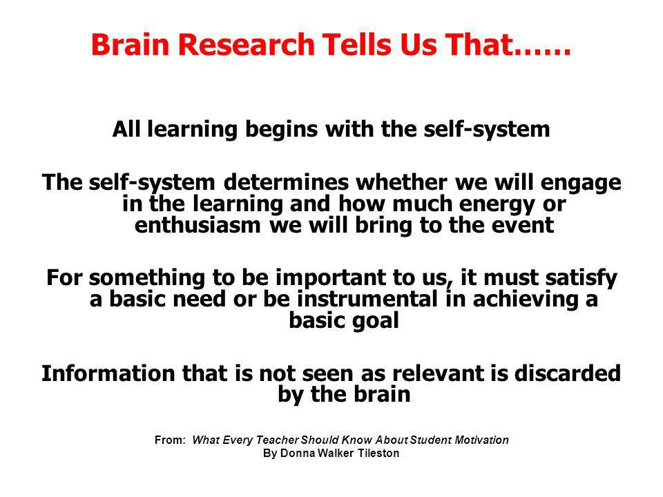 Brain Research Tells Us That……