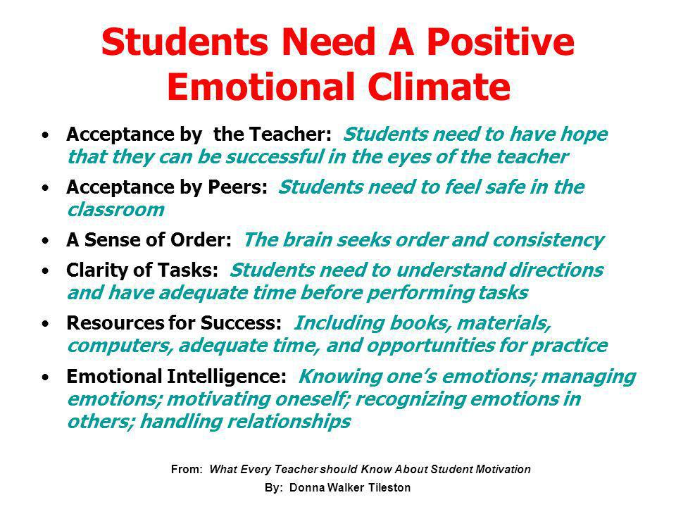 Students Need A Positive Emotional Climate