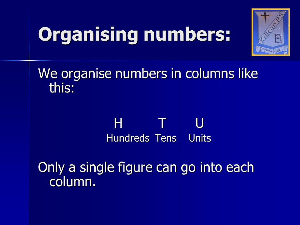 Organising numbers: We organise numbers in columns like this: H T U