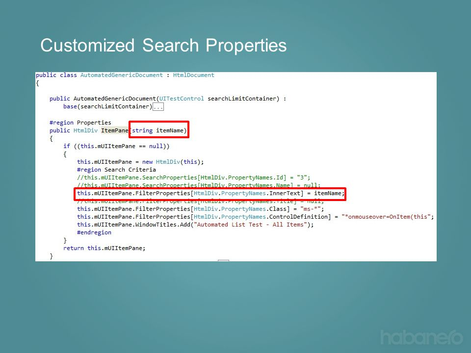 Customized Search Properties