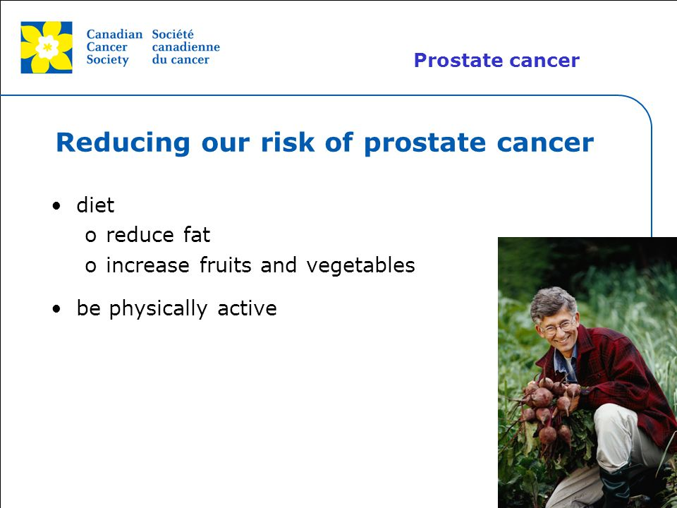 Reducing our risk of prostate cancer