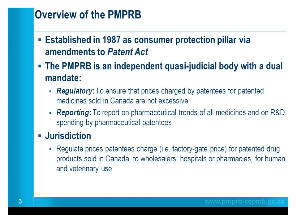 Overview of the PMPRB ________________________________________________