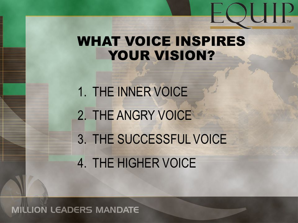 WHAT VOICE INSPIRES YOUR VISION. THE INNER VOICE.