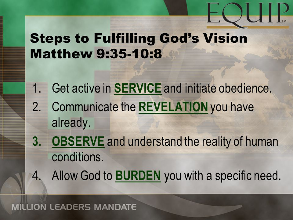Steps to Fulfilling God's Vision
