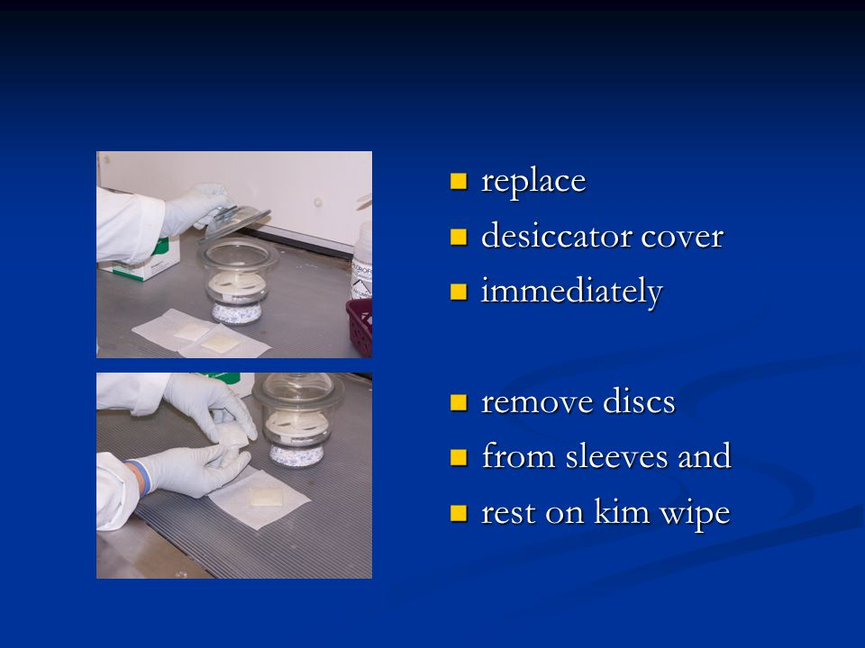 replace desiccator cover immediately remove discs from sleeves and rest on kim wipe