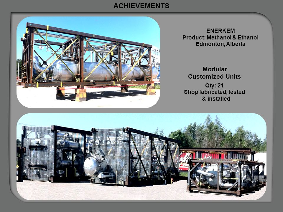 Product: Methanol & Ethanol Shop fabricated, tested