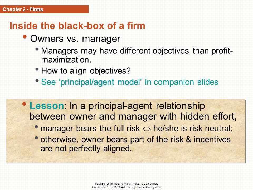 Inside the black-box of a firm Owners vs. manager