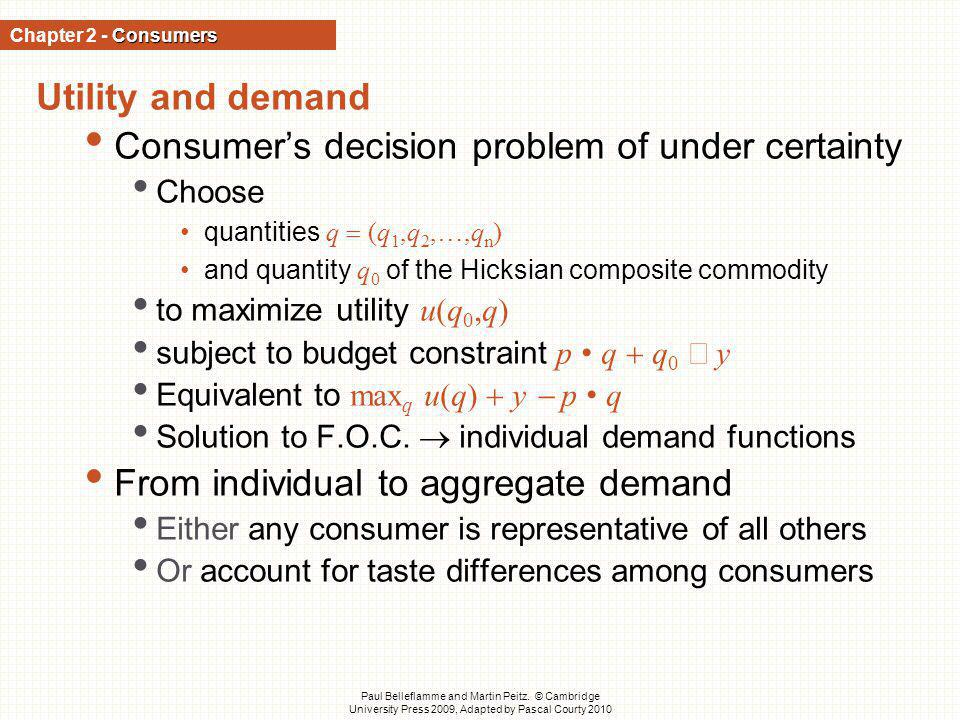 Consumer's decision problem of under certainty