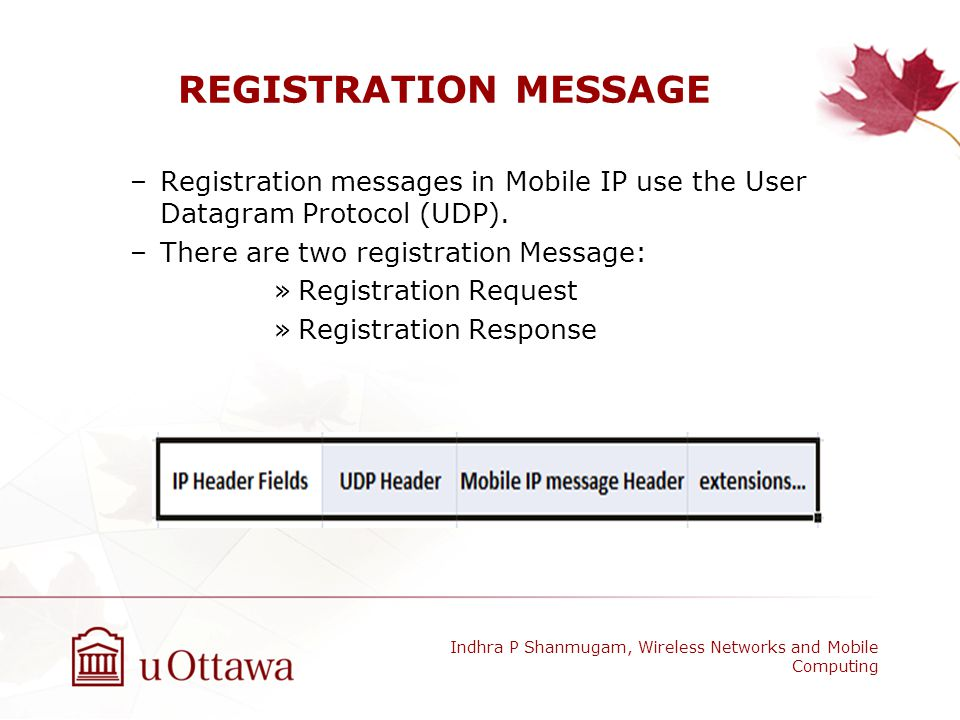 REGISTRATION MESSAGE Registration messages in Mobile IP use the User Datagram Protocol (UDP). There are two registration Message: