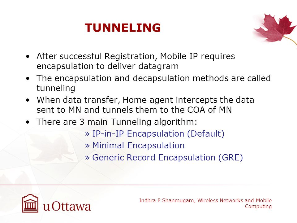 TUNNELING After successful Registration, Mobile IP requires encapsulation to deliver datagram.