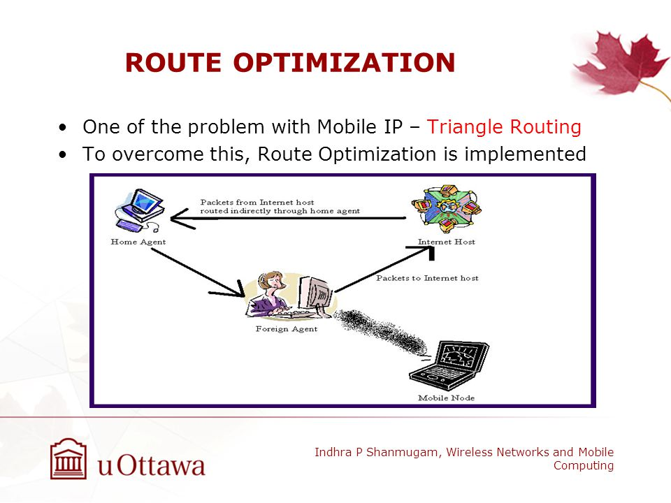 ROUTE OPTIMIZATION One of the problem with Mobile IP – Triangle Routing. To overcome this, Route Optimization is implemented.