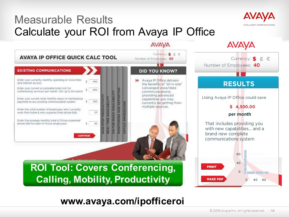 Measurable Results Calculate your ROI from Avaya IP Office