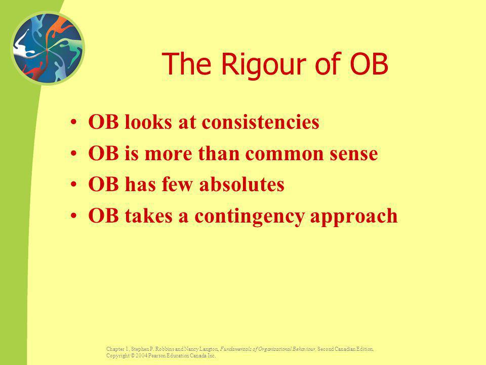 The Rigour of OB OB looks at consistencies