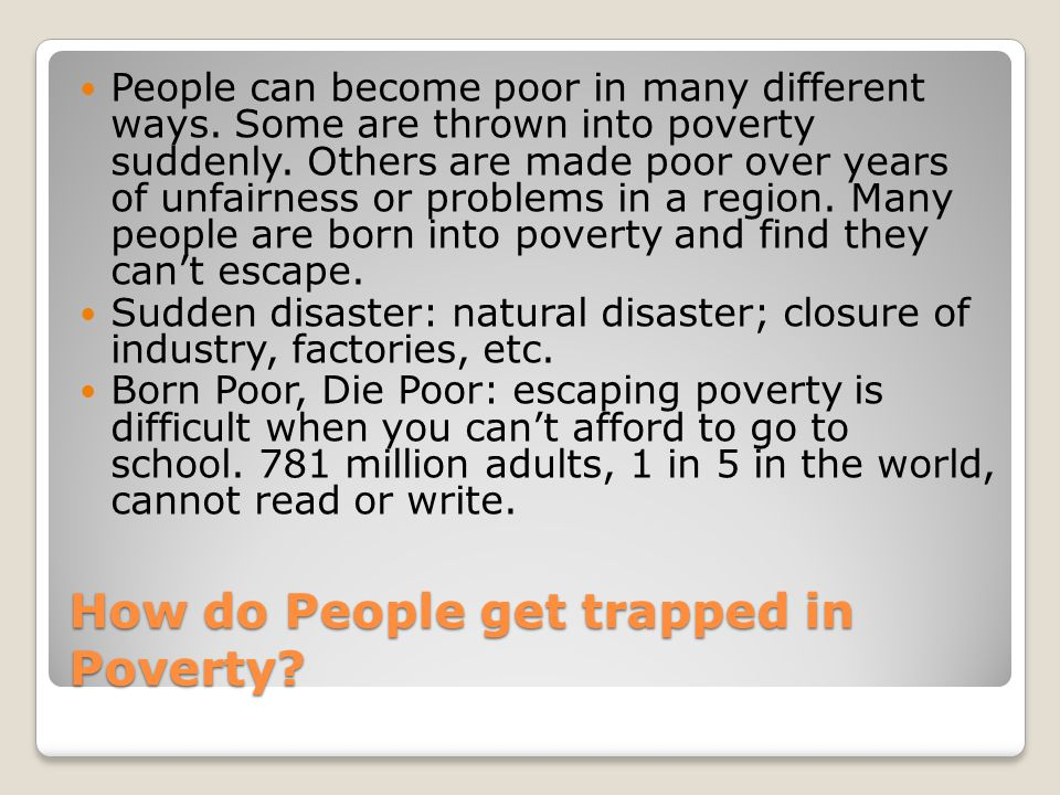 How do People get trapped in Poverty