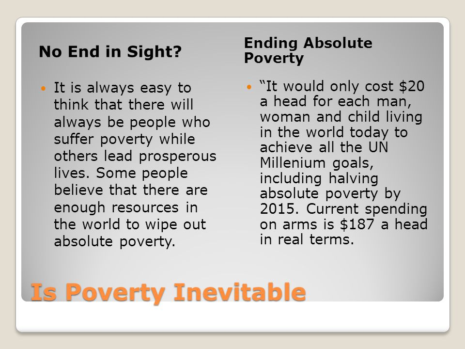Is Poverty Inevitable No End in Sight Ending Absolute Poverty
