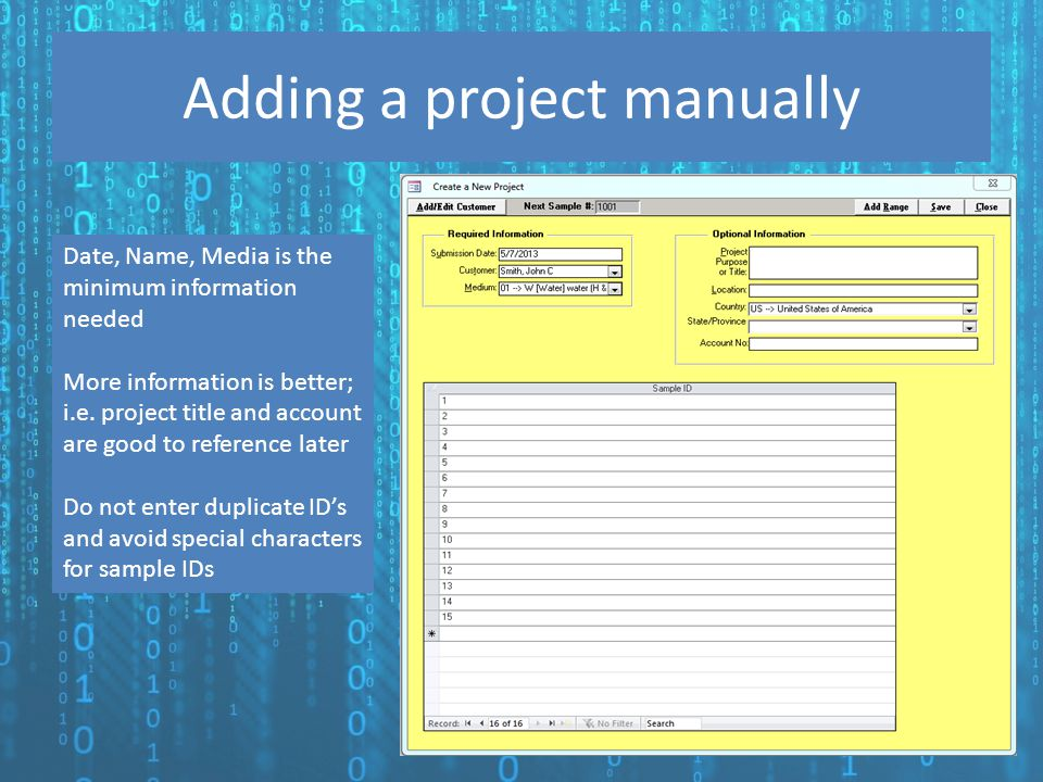 Adding a project manually