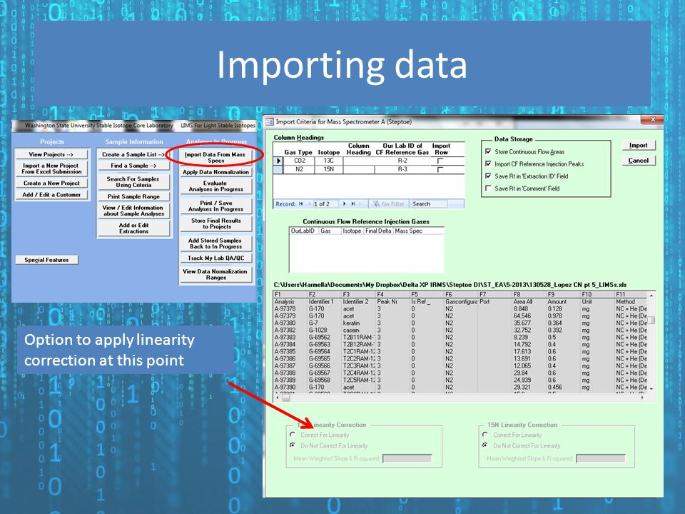 Importing data Option to apply linearity correction at this point