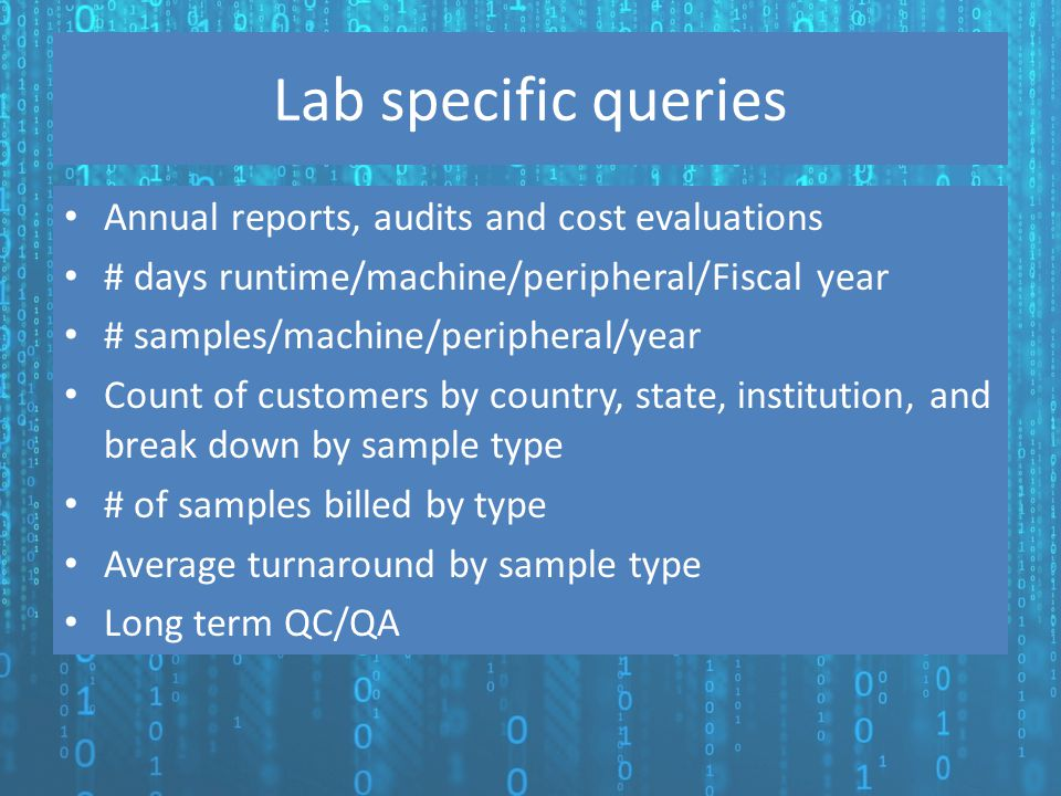 Lab specific queries Annual reports, audits and cost evaluations