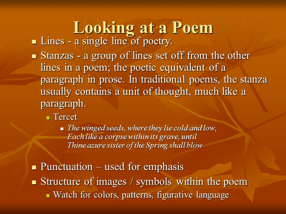 Looking at a Poem Lines - a single line of poetry.