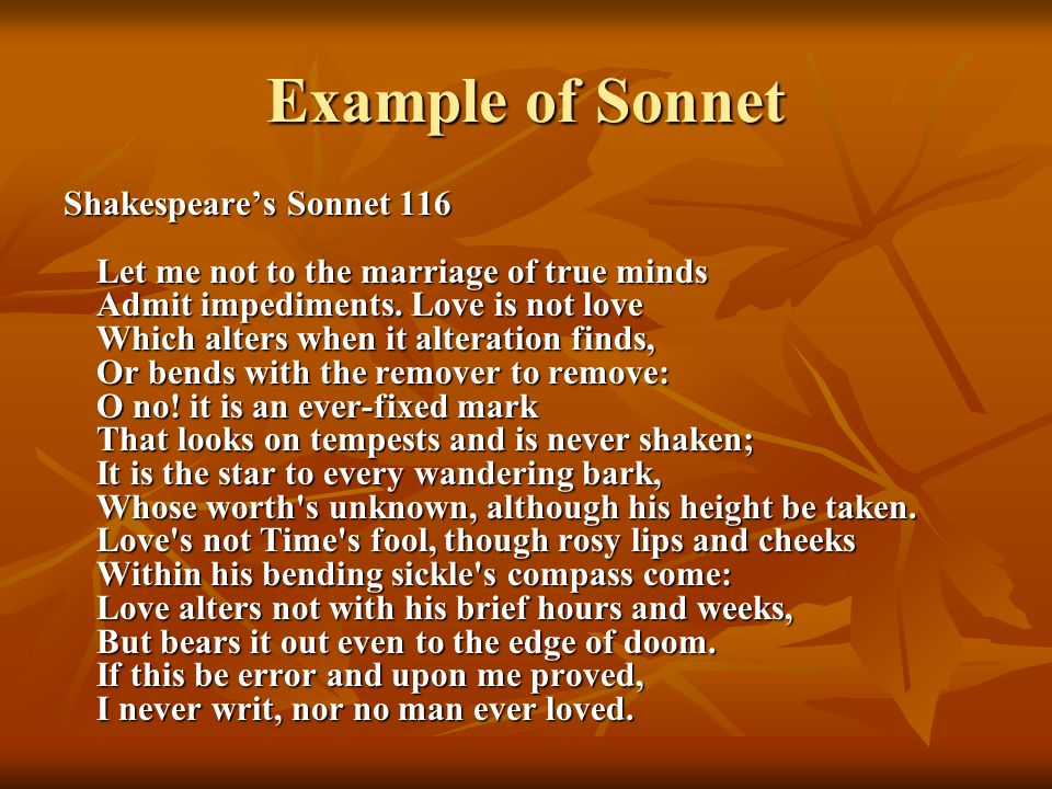 Example of Sonnet