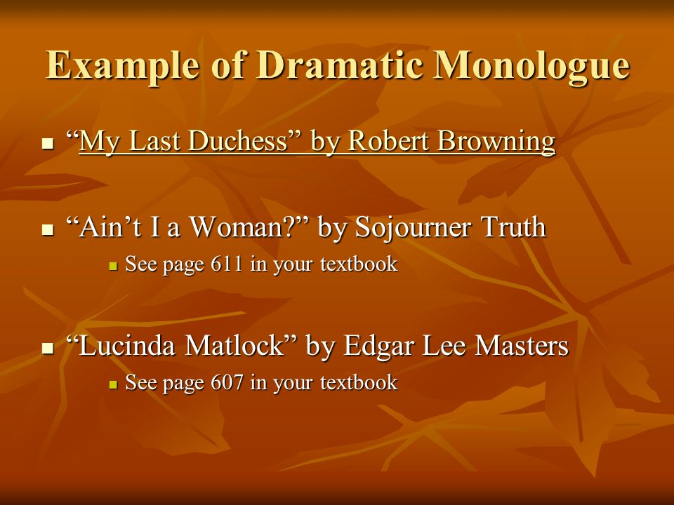 Example of Dramatic Monologue